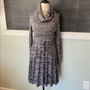 Dana Buchman Black Grey Cowl Neck Dress L